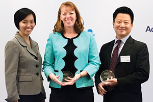 Rosa Tan and Stacey Desrochers, Bruker Corporation and Don Tay, Bank of America Merrill Lynch
