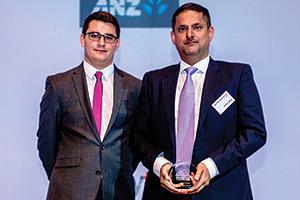 James Hayward with Chetan Talwar, J.P. Morgan who collects on behalf of China Merchants Logistics