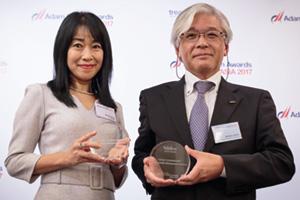 Photo of Minako Stryer, J.P. Morgan and Shimizu Ichiro, Nidec Corporation.