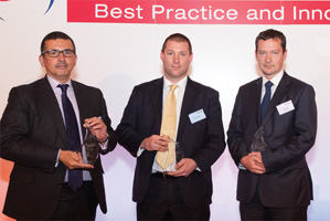 Photo of Max Pell, Xchanging, Daniel Ferguson from RSA Insurance accepting on behalf of William McDonnell, Paul Duffy, Deutsche Bank