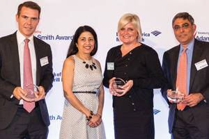 Daniel Packham of Barclays, Anita Prasad and Jayna Bundy, Microsoft and Mohit Manaktala, Bank of America Merrill Lynch