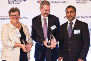 Brigitta Keller of Citi, Mike Foye and Vivek Reddy of Mondelēz collecting the Award on behalf of Tom Jack