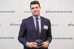 Photo of Geoffrey Gursel, Citi collects the award on behalf of Energy of Cameroon SA