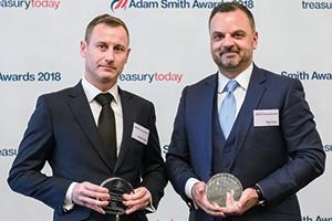 Photo of Philippe Robert, HSBC and Fabio Sarao, BNP Paribas accept the award on behalf of Chalhoub Group