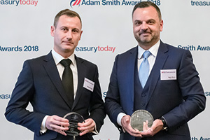 Photo of Philippe Robert, HSBC and Fabio Sarao, BNP Paribas accept the award on behalf of Chalhoub Group