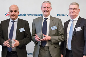 Photo of Darsh Johal and Paul Brock, Shell Treasury Centre Ltd and Michael Webb, Standard Chartered