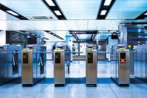 Underground train station turnstiles