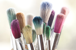 Group of dirty paintbrushes