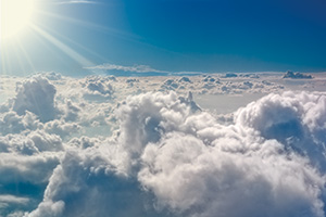 Clouds from above in the sunlight