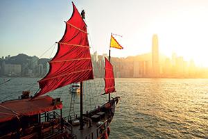 Sailboat in Hong Kong harbor