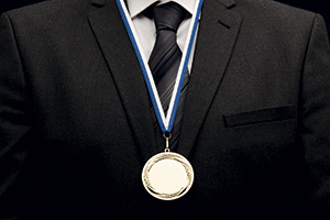 Successful businessman with a medal