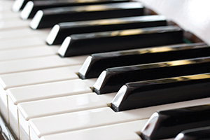 Perspective view of piano keys