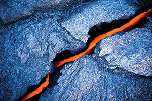 Lava crack at Hawaii, volcano national park