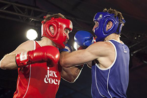 Hedge fund night boxers fighting, red verses blue