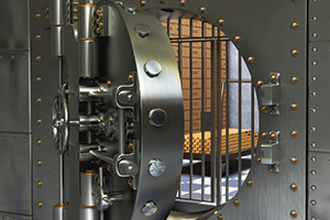 Photo of an open bank vault