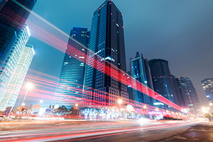 Light trails in the city of Shanghai