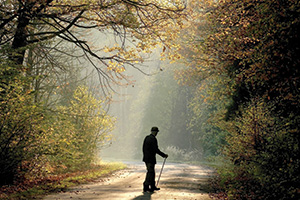 Old man walking through a country road in autumn