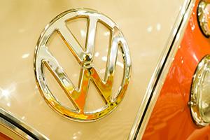 Volkswagen campervan close up on the VW logo