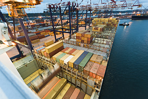 Container operation in a port.