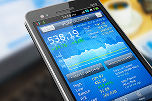 Stock market displayed on a mobile phone