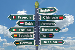 Different languages signpost