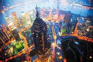 Birds eye view of Shanghai at night