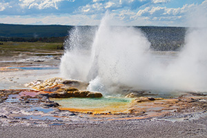 Volcano fountain in Yellowstone National Park