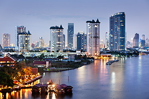 City of Bangkok at twilight all lit up