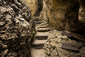 Stairs on a tight mountain path
