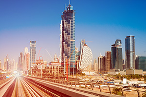 Modern subway line on the urban landscape in Dubai