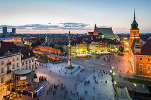 Panorama of old town in Warsaw, Poland