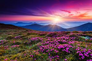 Beautiful sunrise on the mountain horizon