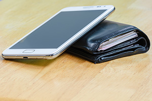 Modern touchscreen mobile phone and wallet