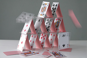 Falling tower of cards