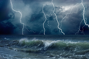 Stormy sea with lightning