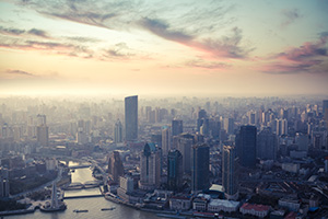 City of Shanghai at dusk