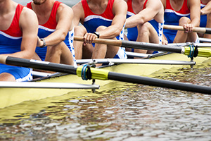 Rowers working together in a race