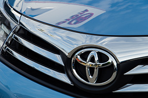 Toyota logo on the front of a Toyota car