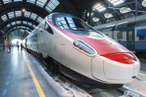 Super streamlined train in Milan central station