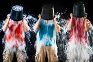 Three men doing the ice bucket challenge
