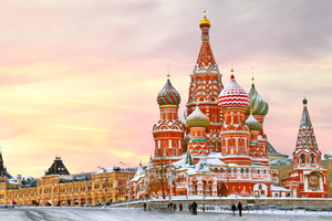 St Basil's cathedral in winter, Moscow, Russia