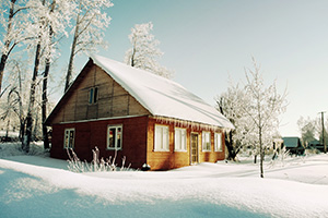 Snowy house in Russian countryside
