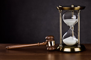 Gavel and hour glass