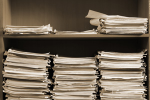 Stack of paper documentation