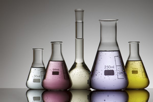 Science lab glass flasks