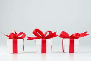 Three small white presents
