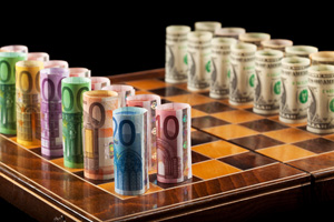 Chess match between EUR and USD notes