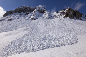 Avalanche on snowy mountain