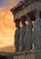 Building statues during sunset