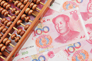 Abacus ontop of Renminbi notes